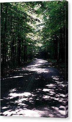 Canvas Print featuring the photograph Sun And Shadow Road In Summer Imp Wc by Lyle Crump