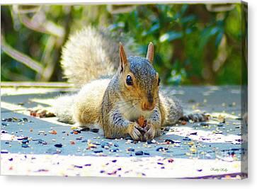 Sun Bathing Squirrel Canvas Print by Kathy Kelly