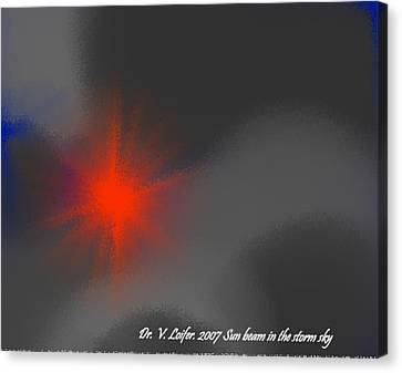 Sun Beam In The Storm Sky Canvas Print by Dr Loifer Vladimir