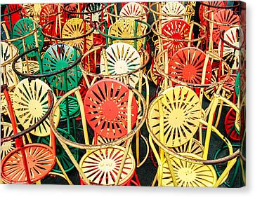 Union Terrace Canvas Print - Sun Burst Chairs Stacked by Todd Klassy