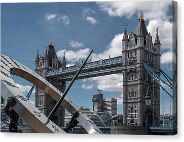 Sun Clock With Tower Bridge Canvas Print