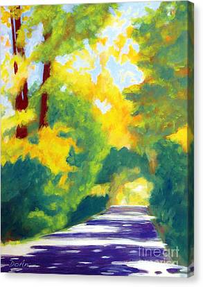 Dappled Light Canvas Print - Sun Dappled Road by Antony Galbraith