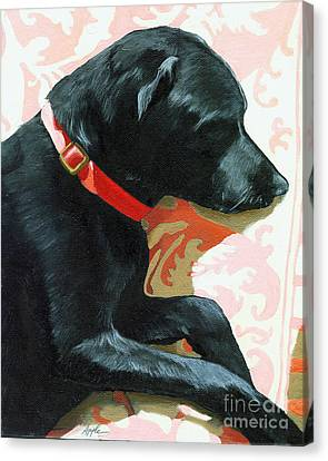 Sun Dog - Dog Portrait Oil Painting Canvas Print by Linda Apple