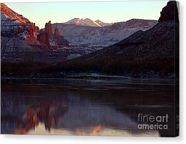 Canvas Print featuring the photograph Sun Down At Fisher Towers by Adam Jewell