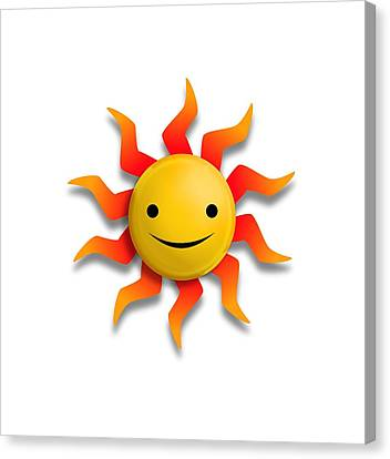 Canvas Print featuring the digital art Sun Face No Background by John Wills