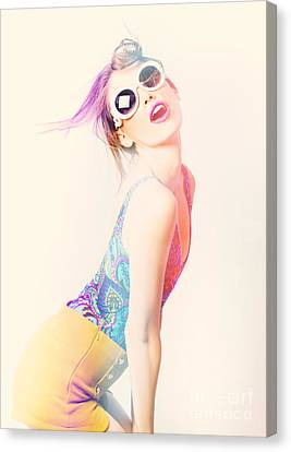 Sun Flared 70s Pin-up Girl Posing In Funky Colour Canvas Print by Jorgo Photography - Wall Art Gallery