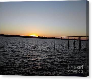 Sun Going Down Near Gov Thomas Johnson Bridge Canvas Print