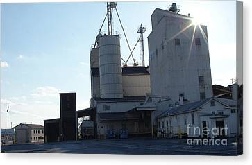 Old Feed Mills Canvas Print - Sun Kiss The Ol Mill   # by Rob Luzier