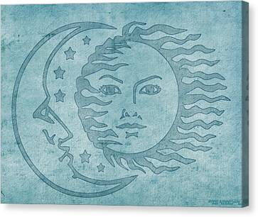Sun Moon And Stars Canvas Print by Little Bunny Sunshine