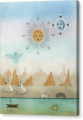 Sun Moon And Turtles Canvas Print by Sally Appleby