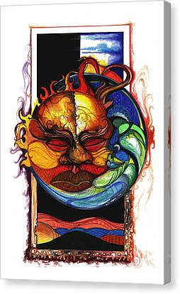 Black Artist Canvas Print - Sun Moon by Anthony Burks Sr