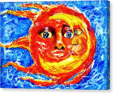 Canvas Print featuring the painting Sun Moon by Shelley Bain