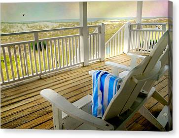 Adirondack Chairs On The Beach Canvas Print - Sun On Deck by Diana Angstadt