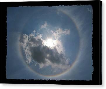 Sun Portal  A Rainbow Around The Sun With Black Border Canvas Print by Adam Long