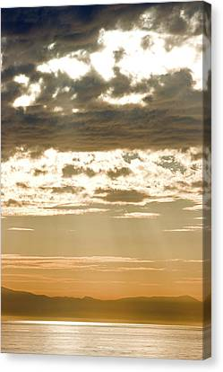 Sun Rays And Clouds Over Santa Cruz Canvas Print by Rich Reid