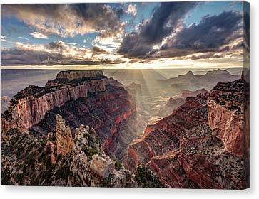 Canvas Print featuring the photograph Sun Rays At Cape Royal by Pierre Leclerc Photography