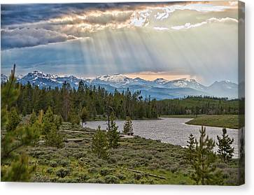 Sun Rays Filtering Through Clouds Canvas Print