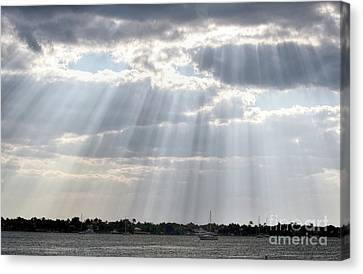 Sun Rays Over Lagoon Canvas Print