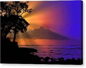Canvas Print featuring the photograph Sun Rays Sunset by Lori Seaman