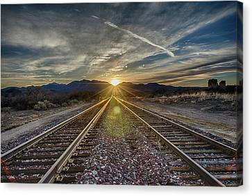 Sun Sets At The End Of The Line Canvas Print