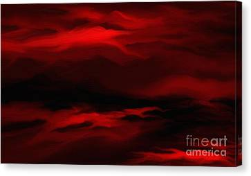 Canvas Print featuring the painting Sun Sets In Red by Rushan Ruzaick