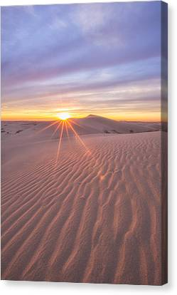 Canvas Print featuring the photograph Sun Setting At The Dunes by Patricia Davidson