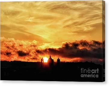 Sun Setting Down Behind Church Canvas Print by Stephan Grixti