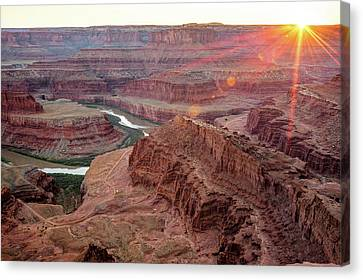 Canvas Print featuring the photograph Sun Setting On Dead Horse Point State Park - Utah by Gregory Ballos