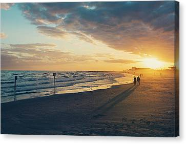 Sun Setting On Galveston Beach Canvas Print