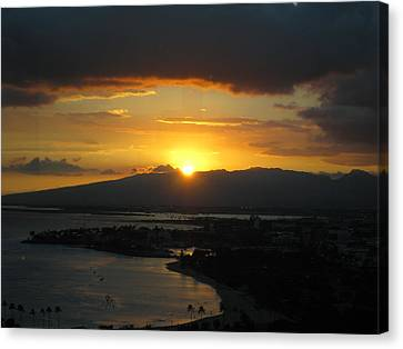 Sun Setting Over Honolulu Canvas Print by Ashley Butler