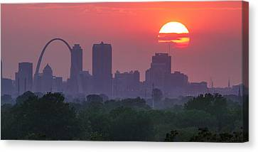 Sun Setting Over St Louis Canvas Print by Garry McMichael