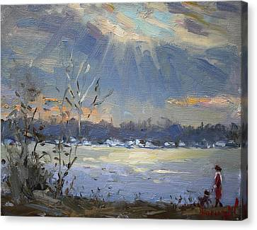 Sun Setting Over The Niagara River Canvas Print by Ylli Haruni