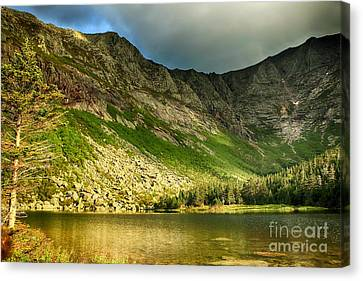 Sun Shining On Chimney Pond  Canvas Print