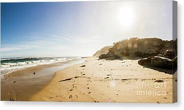 Sunflare Canvas Print - Sun Surf And Empty Beach Sand by Jorgo Photography - Wall Art Gallery