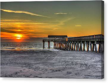 Sun Up Reflections On Tybee Island Pier Canvas Print by Reid Callaway