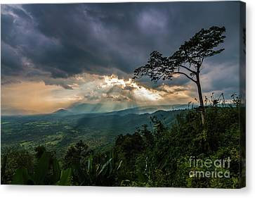 Canvas Print featuring the photograph Sunbeam Befor Rainny by Tosporn Preede