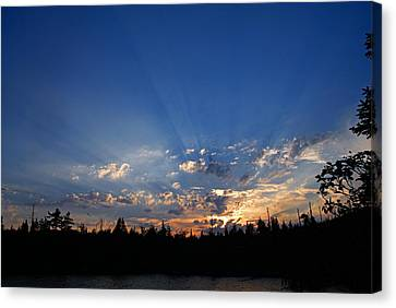 Sunbeams At Sunset 2 Canvas Print by Larry Ricker
