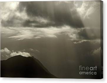 Sunbeams On Mountains By Cloudy Day Canvas Print by Sami Sarkis