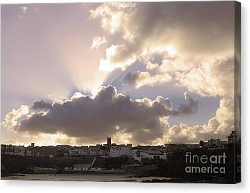 Canvas Print featuring the photograph Sunbeams Over Church In Color by Nicholas Burningham