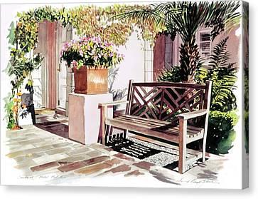 Canvas Print -  Sunbench Hotel Bel-air by David Lloyd Glover