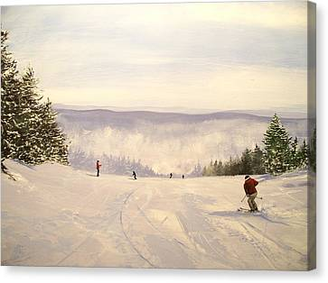 Canvas Print featuring the painting sunbowl at Stratton Mountain Vermont by Ken Ahlering