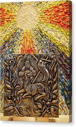 Agnus Canvas Print - Sunburst Mosaic At Side Altar For Tabernacle With Bronze Bas Rel by Reimar Gaertner