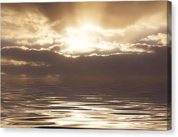 Sunburst Over Water Canvas Print by Bill Cannon