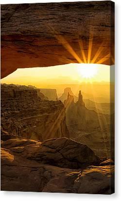 Sunburst Through Mesa Arch Canvas Print by Andrew Soundarajan