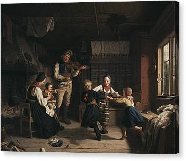 Sunday Evening In A Farmhouse In Dalecarlia Canvas Print by Amalia Lindegren