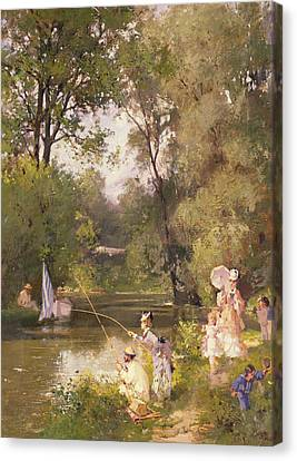 Matron Canvas Print - Sunday In The Park by Philippe Jacques Linder