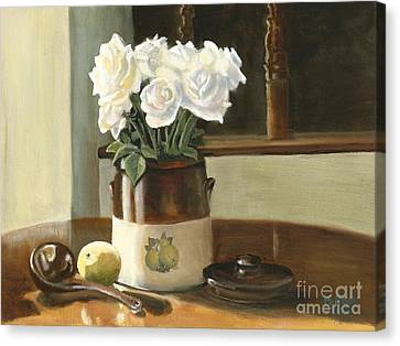 Canvas Print featuring the painting Sunday Morning And Roses - Study by Marlene Book