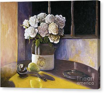Canvas Print featuring the painting Sunday Morning And Roses Redux by Marlene Book