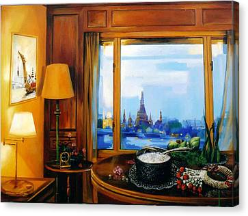 Canvas Print featuring the painting Sunday Morning by Chonkhet Phanwichien