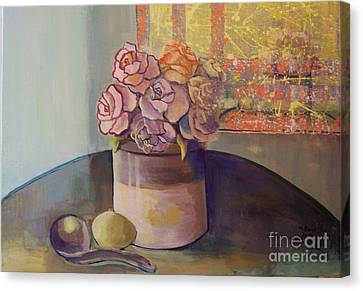 Canvas Print featuring the painting Sunday Morning Roses Through The Looking Glass by Marlene Book